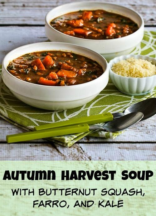 Autumn Harvest Soup with Butternut Squash, Kale, and Farro or Brown ...