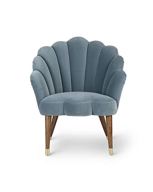 Flora Scalloped Pale Duck Egg Blue Velvet Armchair In 2020 Blue Velvet Armchair Pink Velvet Armchairs Velvet Armchair