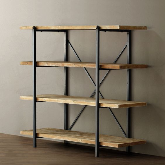Wood shelves bookcases and irons on pinterest - Estantes de madera ...