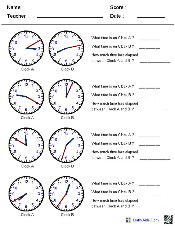 Elapsed Time Worksheets-This site generates clock times in ...