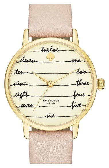 kate spade 'time on wire' leather strap watch, 34mm available at #Nordstrom