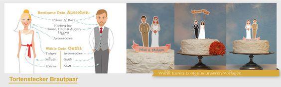 Gestaltet Eure ganz individuellen Tortenfiguren aus Papier! Braut & Bräutigam in Eurem Look