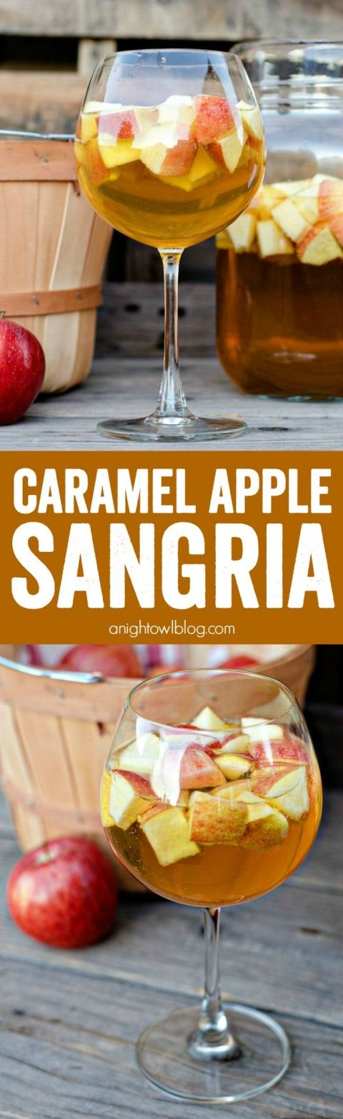 Caramel Apple Sangria - a delicious combination of your favorite flavors for fall in one delicious drink! #recipe:
