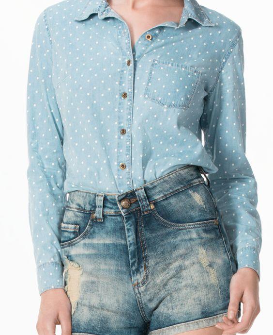 ¡La blusa de jean es lo más trendy de la temporada! #Chambray #BlusasTrend #Fashion #Navigata