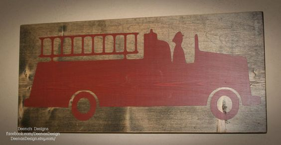 Firefighter Wall Art, Firefighter Decor, Distressed Wall Decor, Custom Wood Sign, Firetruck  - Fire Truck Accent Sign via Etsy