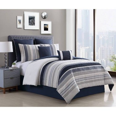 Allen Stripe 8pc Comforter Set Navy With Images Master Bedroom