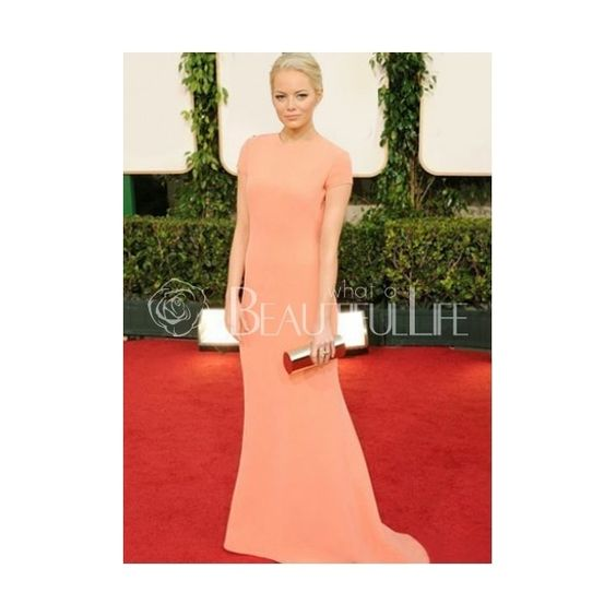 Celebrity Dress - Emma Stone Style Pure Nude Matte Satin Sheath Maxi Dress In 2011 Golden Globe Award Carpet (205 AUD) found on Polyvore