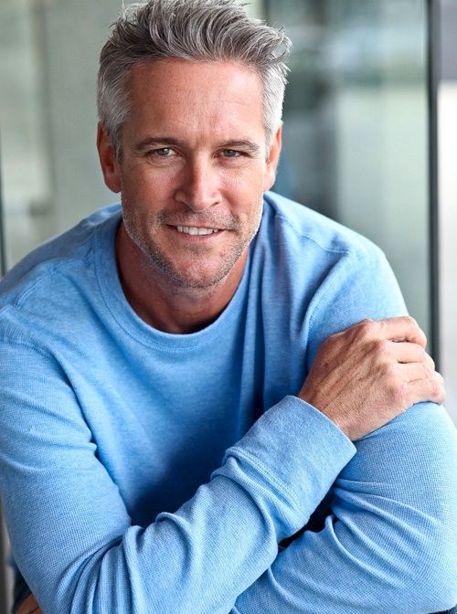 Handsome and Gray Haired Older Man.