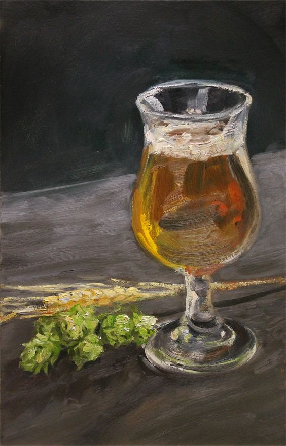 Beer still life with hops and barley