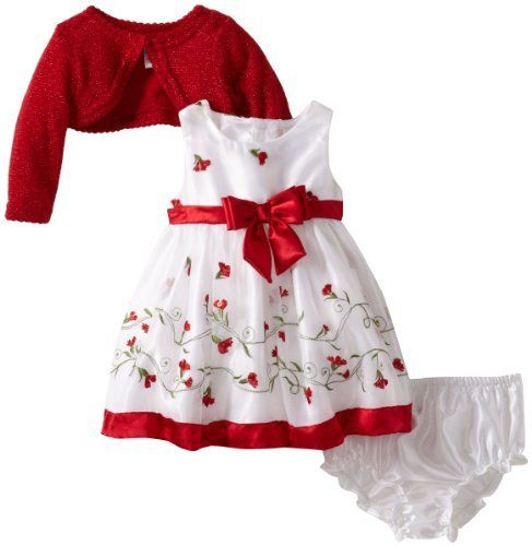 Youngland Baby Girls Newborn Border Schifflie Dress With