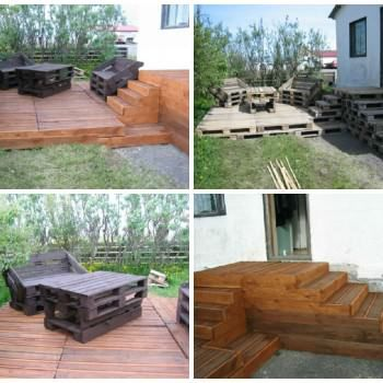Terrace Made of 163 Recycled Pallets