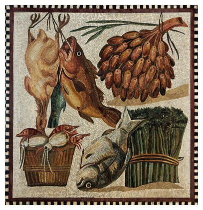 Still Life of Poultry, seafood and Vegetables, Roman Mosaic (2nd Century AD):