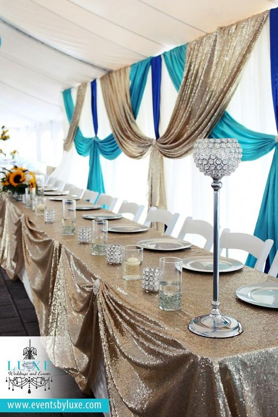 Ivory, champagne sequin, turquoise & royal blue Wedding Decor | Mt. Brydges ON