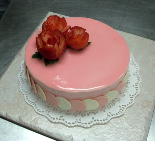 Strawberries and Cream Mousse Cake.