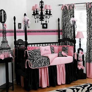 Quarto de menina rosa com preto e zebra