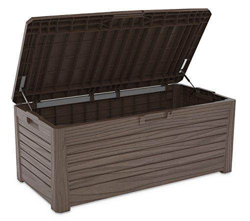 Multifunktionale Aufbewahrungsbox In Holzoptik Fassungsvermogen Ca 550 Liter Tragkraft Ca 350 Kg Idea Outdoor Storage Box Storage Box Outdoor Decor