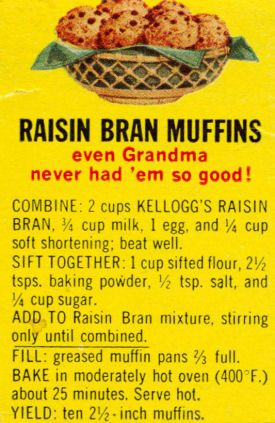 The original Kelloggs raisin bran muffin recipe. I have been looking for this recipe..sooo yummy!