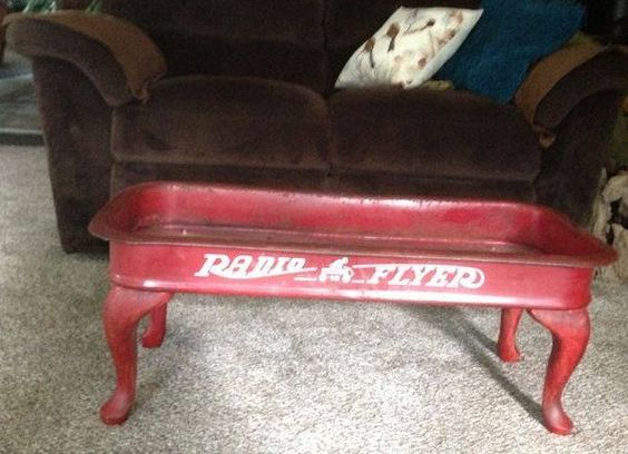 Radio Flyer wagon coffee table - from Junk Nation Review. I saw this photo on Facebook, too cute!! Man cave? Patio?