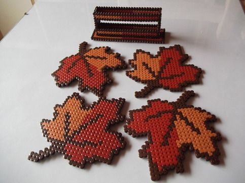 Maple Leaf Set of Coasters and Stand