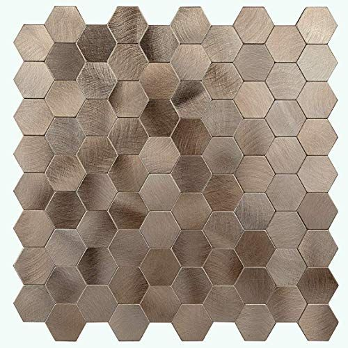 The Perfect Decopus Peel And Stick Copper Metal Mosaic Tile Backsplash Hexagon Mute Gold 5pc Pack In 2020 Metal Mosaic Tiles Mosaic Tile Backsplash Tile Backsplash