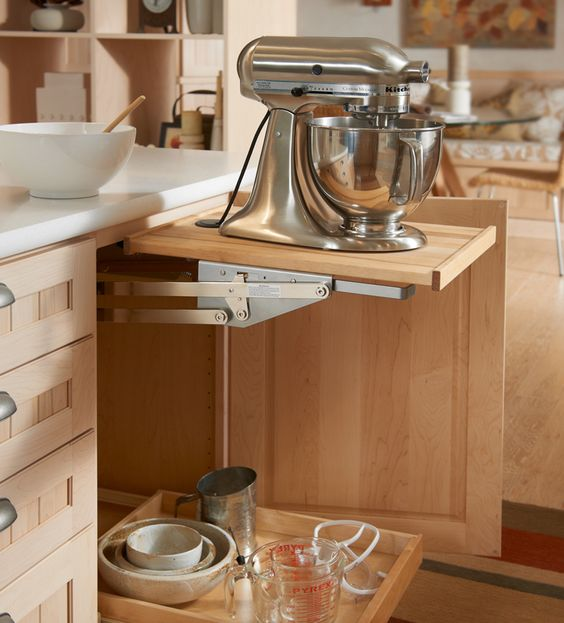 Mixer storage solutions and shelves on pinterest for Off the shelf kitchen units