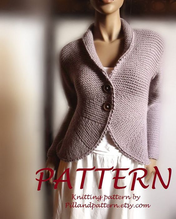 Easy Cardigan Knitting Pattern : Blazer jacket Sweater PDF knitting pattern Womens cardigan Easy Knit instant ...