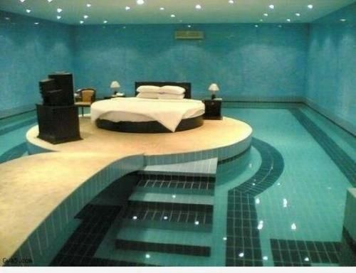 bedroom waterfall. I would have a waterfall flowing into the pool  May not be master bedroom but good for romantic evenings and whe Pinteres Absolutely love this