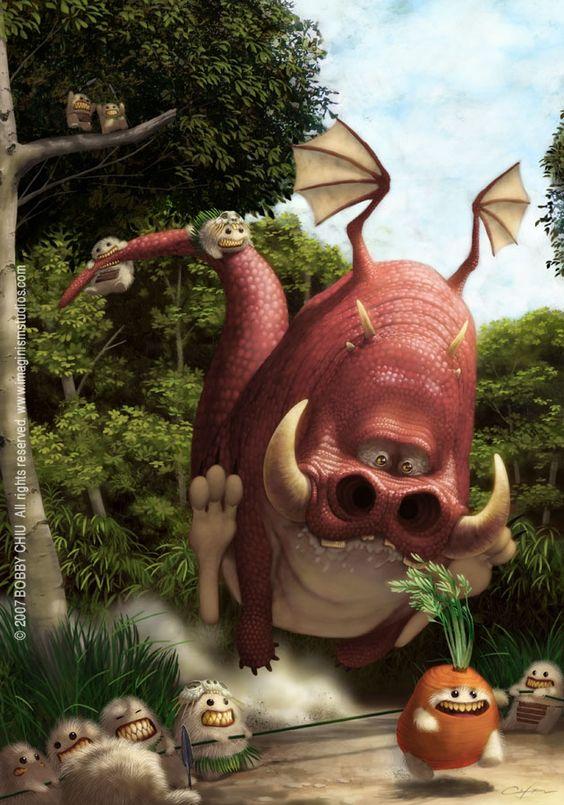 engraçado photoshop pintura estilo pixar arte da ilustração personagens monstro tribo alienígena