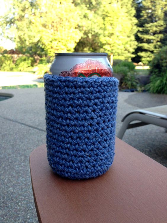 Blue Handmade Crocheted Cotton Soda/Beer Can by HoffmanHandicrafts, $4.50