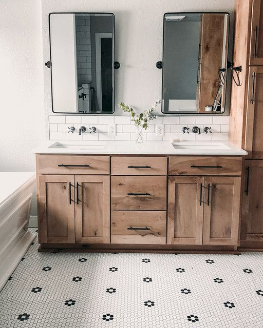 Love Black Mirrors W Natural Wood And White Black Floor Bathroom Renovation Designs Bathrooms Remodel Bathroom Makeover