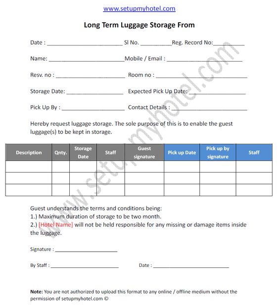 Long Term Luggage Storage Request Form http\/\/wwwsetupmyhotel - recruitment request form