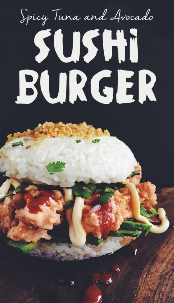 Easy No-Cook Spicy Tuna and Avocado Sushi Burger - Perfect for Super Hot Days When You Don't Want to Cook!