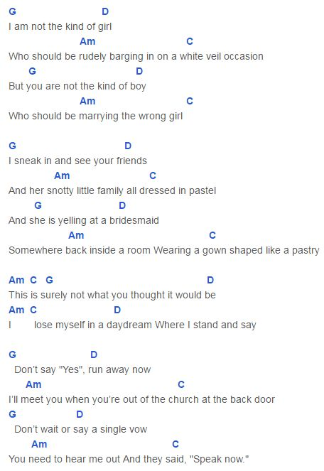 Speak Now Chords Taylor Swift : Taylor Swift : Pinterest