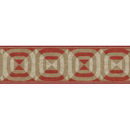Contempo Bull's Eye Wall Border, Brick/Camel/Tan, Multicolor