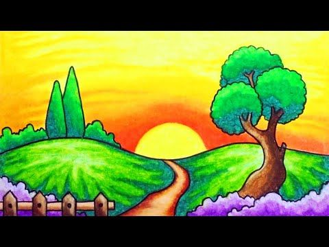 How To Draw Easy Scenery Youtube Drawing Sunset Easy Scenery Drawing Easy Drawings