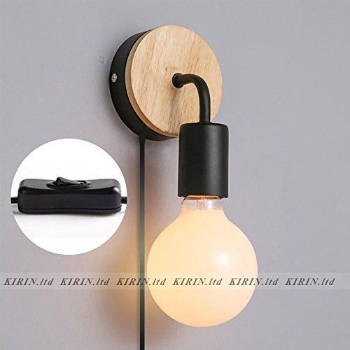 2 Pack Of Minimalist Wall Light Sconce Plug In E26 27 Bas Wall Lights Black Lamps Sconces