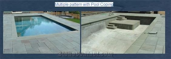 Blue Stone Multiple Pattern with Pool Coping, New York Bluestone Grey Blue Stone