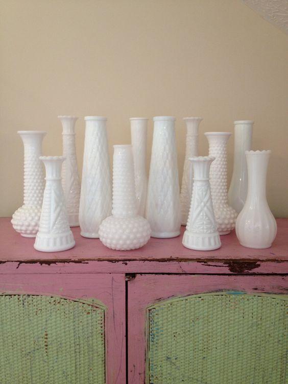 Vintage White Milk Glass Vases Instant Collection Vintage Milk Glass White Bud Vases
