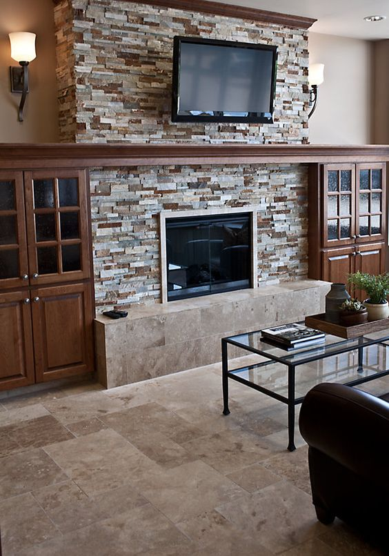 The cheese craftsman and fireplaces on pinterest for Stone around fireplace