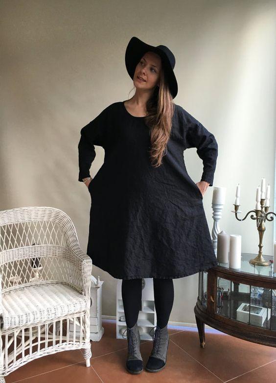 Linen Dress Oversized black dress Loose long by Linenbeeshop