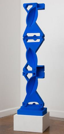 "Jaime Scholnick, Cobalt Tower, 2012   Acrylic on Polystyrene   61.5"" x 15"" x 10"""