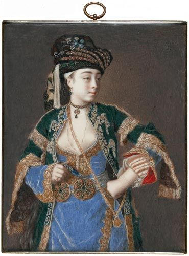 Jean-Etienne Liotard, Portrait of Laura Tarsi, late 1740s, Watercolour and bodycolour on ivory: