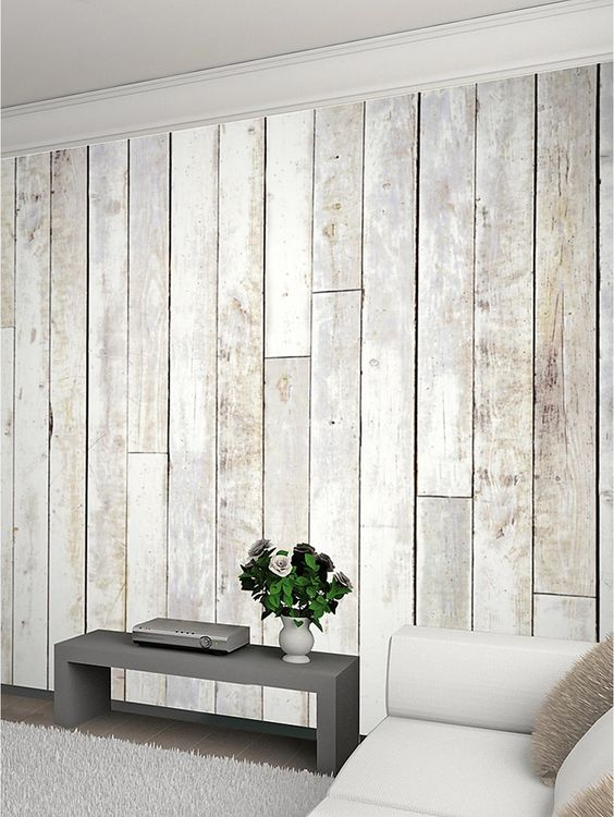 Whitewash Wood Panel Wall Mural