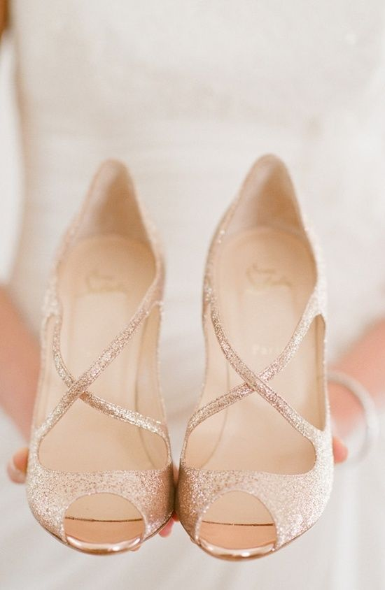 If you are going with a more simple dress, add a little sparkle with these gorgeous heels.