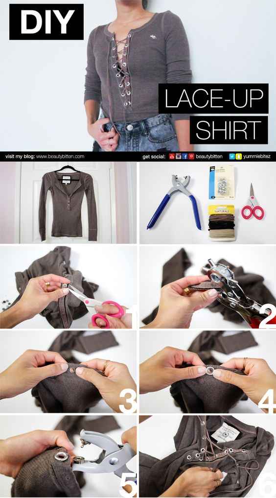 #DIY Lace-up Shirt Picture-by-Picture instructions. How to update your old henley shirts. No sewing involved. Please visit my blog or Youtube channel  for DIY video (https://youtu.be/jQZYVg6SiJ0):