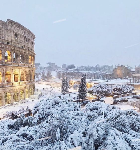 Rome in Winter! Amazing white Colosseum!