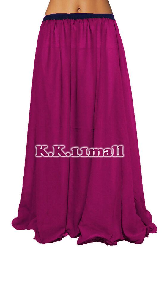 Belly Dancing Skirt 2 Layer GYPSY Long Maxi Chiffon Skirt For Women Troupe C2