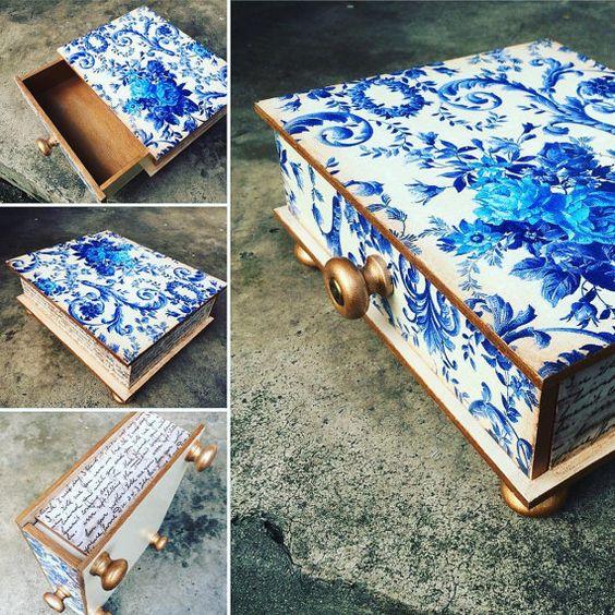 Decoupage madera floral un cajón, organizador de escritorio, inmóvil decorada…