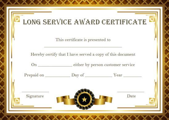 Customer Service Award Certificate 10 Templates That Give You Perfect Words To Award Template Sumo In 2020 Service Awards Award Certificates Award Template