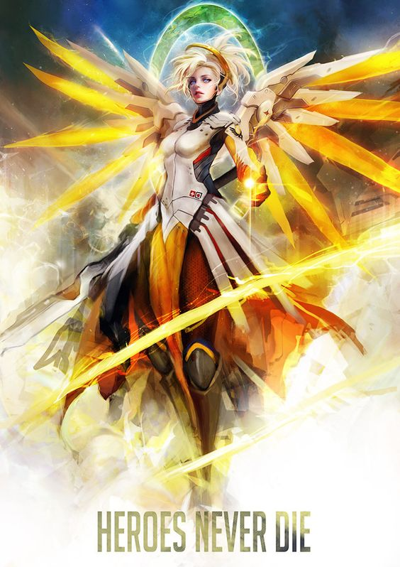 """cyrail: """" Mercy WIP update by muju Featured on Cyrail: Inspiring artworks that make your day better """""""